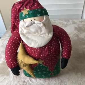 "Weighted Stuffed Fabric ""Good Cheer"" Santa"